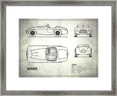 166 Mm Blueprint - White Framed Print by Mark Rogan