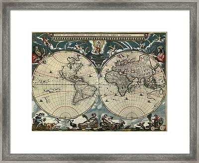 1664 Dutch World Map Is Richly Framed Print by Everett