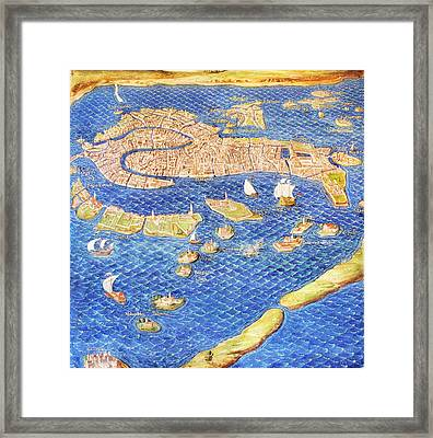 16th Century Map Of Venice Framed Print by Sheila Terry