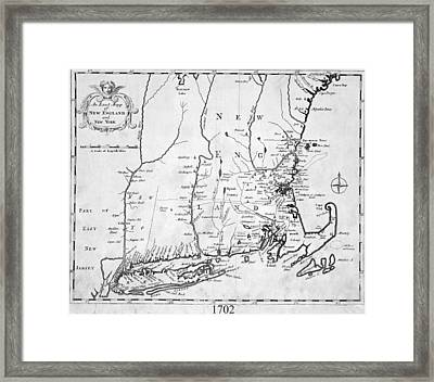 1702 Map Of New England And New York Framed Print by Toby McGuire