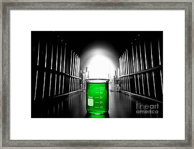 Laboratory Equipment In Science Research Lab Framed Print by Olivier Le Queinec