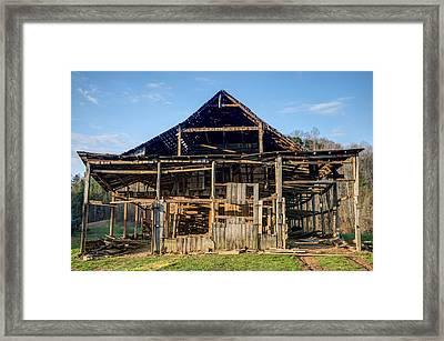 1800s Barn Being Dismantled Framed Print by Douglas Barnett