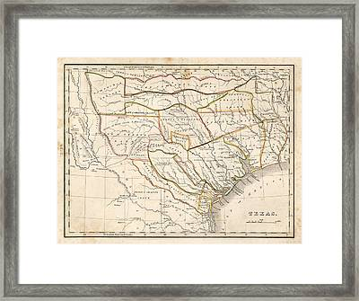1835 Texas Map Framed Print by Dan Sproul