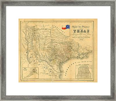 1849 Texas Map Framed Print by Dan Sproul