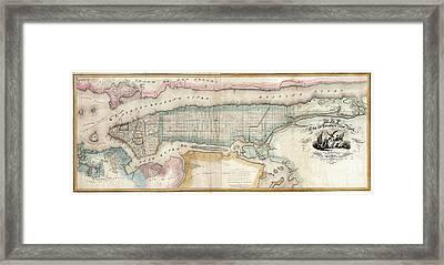 1852 New York City Map Framed Print by Jon Neidert