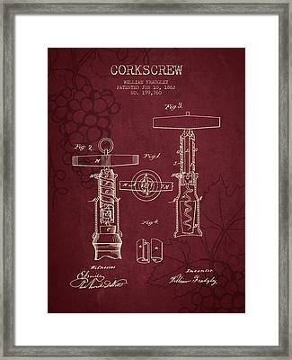 1862 Corkscrew Patent - Red Wine Framed Print by Aged Pixel