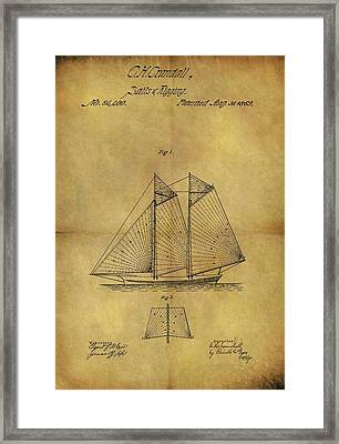1869 Sailing Ship Patent Framed Print by Dan Sproul
