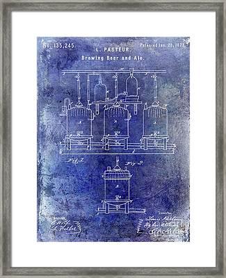 1873 Beer Patent Blue Framed Print by Jon Neidert