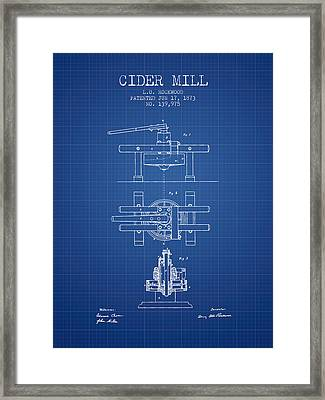 1873 Cider Mill Patent - Blueprint Framed Print by Aged Pixel