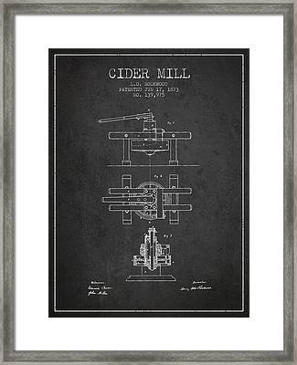 1873 Cider Mill Patent - Charcoal Framed Print by Aged Pixel
