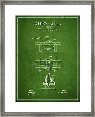 1873 Cider Mill Patent - Green Framed Print by Aged Pixel