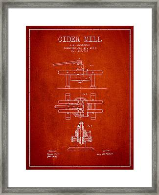 1873 Cider Mill Patent - Red Framed Print by Aged Pixel