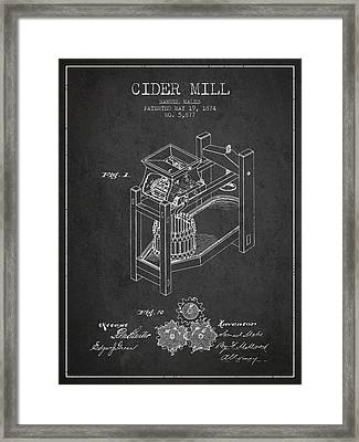 1874 Cider Mill Patent - Charcoal 02 Framed Print by Aged Pixel