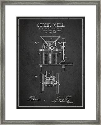 1874 Cider Mill Patent - Charcoal Framed Print by Aged Pixel