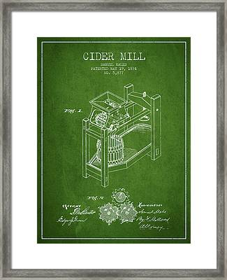 1874 Cider Mill Patent - Green 02 Framed Print by Aged Pixel