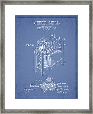 1874 Cider Mill Patent - Light Blue 02 Framed Print by Aged Pixel