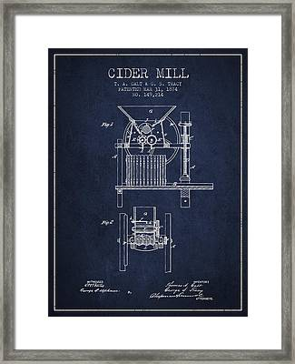 1874 Cider Mill Patent - Navy Blue Framed Print by Aged Pixel