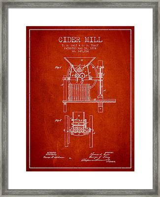 1874 Cider Mill Patent - Red Framed Print by Aged Pixel