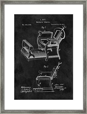 1875 Barber Chair Patent Framed Print by Dan Sproul