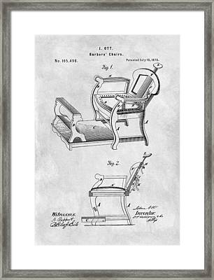1875 Barber Chair Patent Illustration Framed Print by Dan Sproul