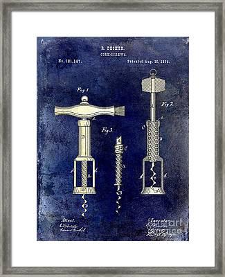 1876 Corkscrew Patent Drawing 2 Tone Blue Framed Print by Jon Neidert