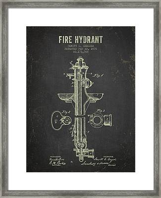 1876 Fire Hydrant Patent - Dark Grunge Framed Print by Aged Pixel