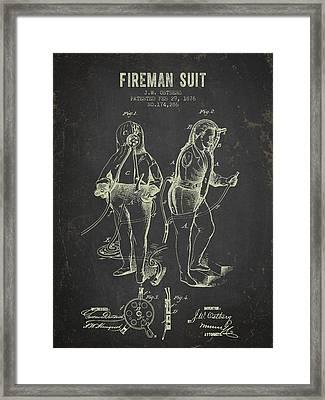 1876 Fireman Suit Patent - Dark Grunge Framed Print by Aged Pixel
