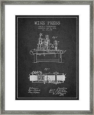 1876 Wine Press Patent - Charcoal Framed Print by Aged Pixel