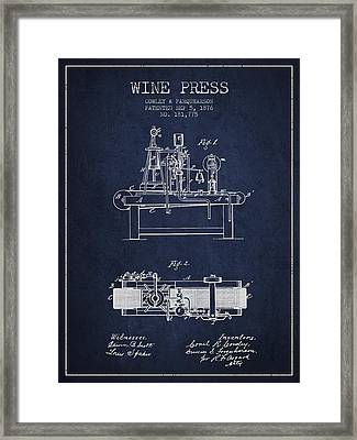 1876 Wine Press Patent - Navy Blue Framed Print by Aged Pixel