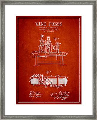 1876 Wine Press Patent - Red Framed Print by Aged Pixel