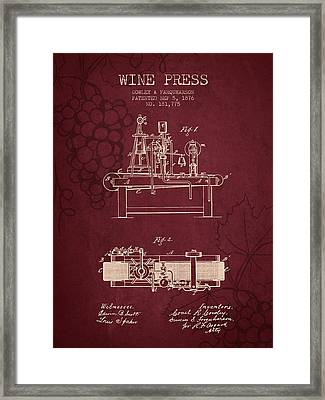 1876 Wine Press Patent - Red Wine Framed Print by Aged Pixel