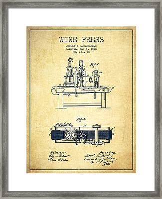 1876 Wine Press Patent - Vintage Framed Print by Aged Pixel