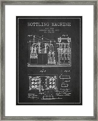 1877 Bottling Machine Patent - Charcoal Framed Print by Aged Pixel