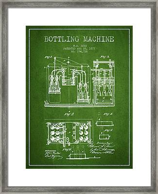 1877 Bottling Machine Patent - Green Framed Print by Aged Pixel