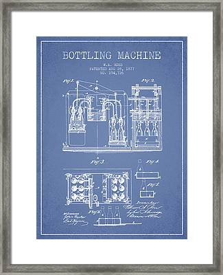 1877 Bottling Machine Patent - Light Blue Framed Print by Aged Pixel
