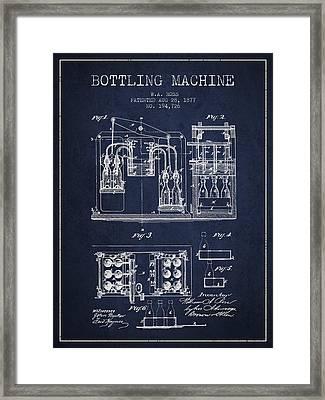 1877 Bottling Machine Patent - Navy Blue Framed Print by Aged Pixel