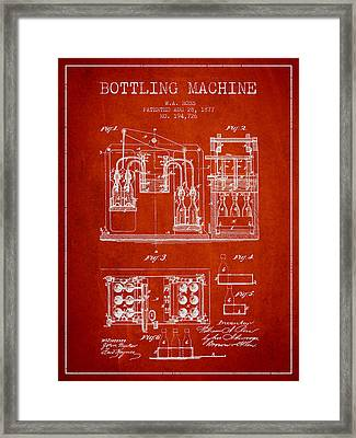 1877 Bottling Machine Patent - Red Framed Print by Aged Pixel
