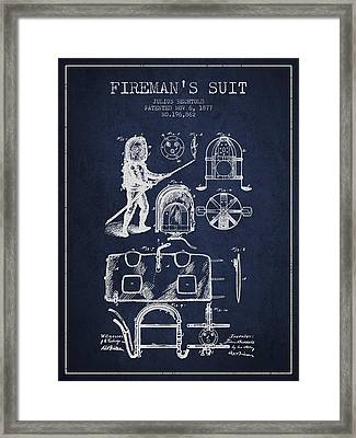 1877 Firemans Suit Patent - Navy Blue Framed Print by Aged Pixel