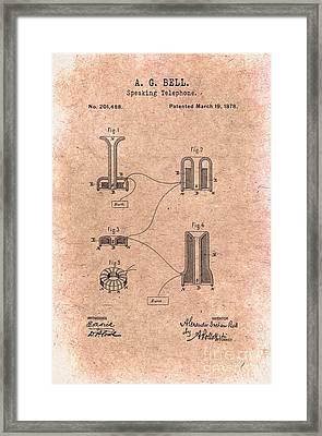 1878 Alexander Graham Bell Speaking Telephone Patent Art 1 Framed Print by Nishanth Gopinathan