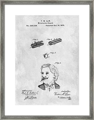 1879 Mustache Guard Patent Framed Print by Dan Sproul