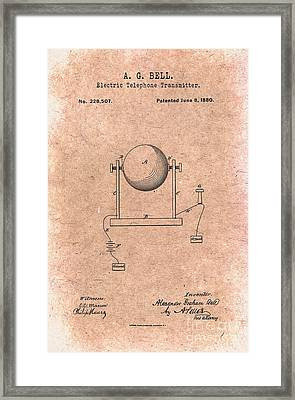 1880 Alexander Graham Bell Electric Telephone Transmitter Patent Framed Print by Nishanth Gopinathan