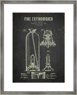 1880 Fire Extinguisher Patent - Dark Grunge Framed Print by Aged Pixel
