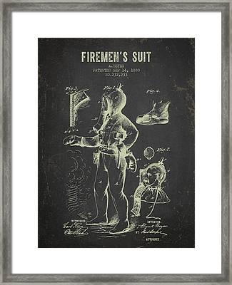1880 Firemens Suit Patent - Dark Grunge Framed Print by Aged Pixel