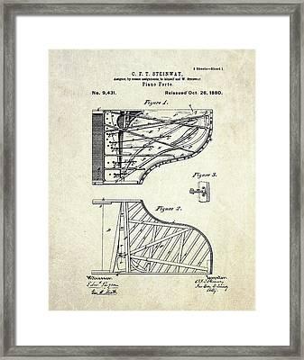 1880 Steinway Piano Forte Patent Art Sheet 1  Framed Print by Gary Bodnar