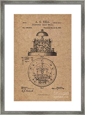 1881 Alexander Graham Bell Electric Call Bell Patent Art 2 Framed Print by Nishanth Gopinathan