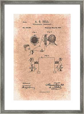 1881 Alexander Graham Bell Telephonic Receiver Patent Art 1 Framed Print by Nishanth Gopinathan