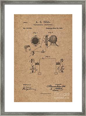 1881 Alexander Graham Bell Telephonic Receiver Patent Art 2 Framed Print by Nishanth Gopinathan