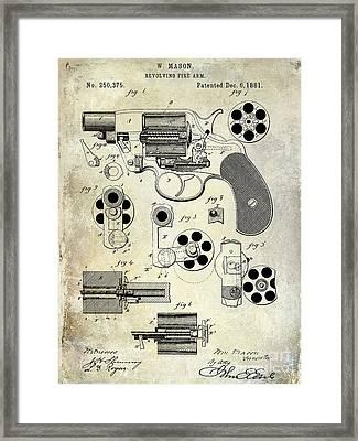 1881 Revolver Patent  Framed Print by Jon Neidert