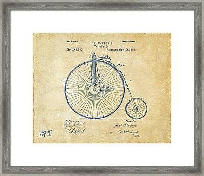 1881 Velocipede Bicycle Patent Artwork - Vintage Framed Print by Nikki Marie Smith