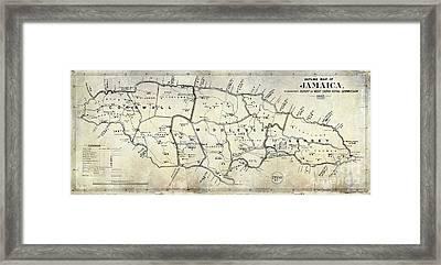 1882 Jamaica Map Framed Print by Jon Neidert